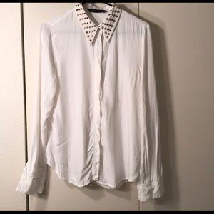 studded collar white zara blouse gold details cute
